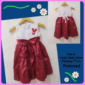 Baju Anak Perempuan Satin Maroon Size 6