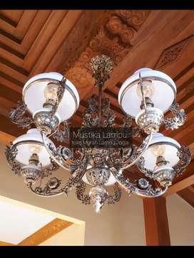Produksi Lampu Cabang 5 Gantung Antik Klasik Hias Joglo Gebyok