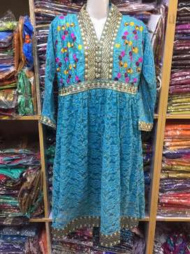 Embroidered Fancy Net LINEN Frocks in Free Style in Wholesale Rate