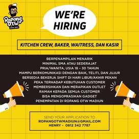 Dicari Kitchen Crew, Baker, waitress, dan kasir Cafe