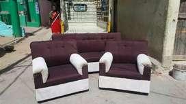 Dark brown and cream colour combination 3+1+1 seater sofa