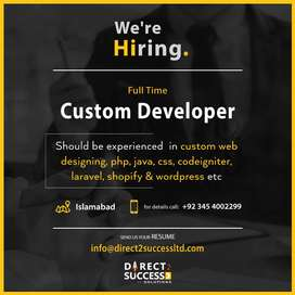 Looking Custom & WordPress Developer on urgent basis in our Company