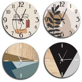 Jam Dinding Kayu Estetik Custom dengan Mesin Sweep Movement