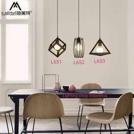 lampu gantung hias 3in1 base kop plafon panjang retro kafe minimalis