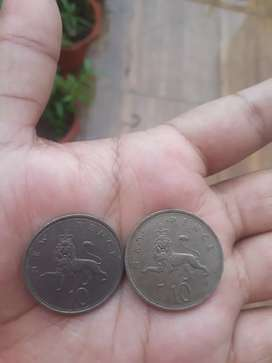 Antique coins of UK ,10 pence
