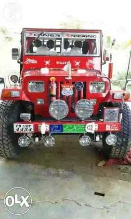 Red willys jeep