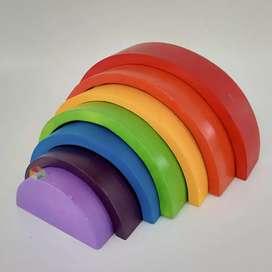 Rainbow Block Mainan Montessori Anak PAUD