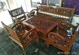 Set kursi tamu ukir Arimbi kayu jati solid