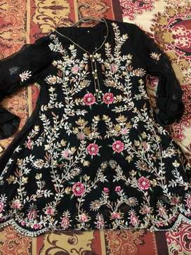 Embroided frock with lehnga