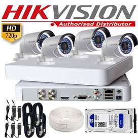 HIKVISION 1mp camera ,4 channel Dvr, 250GB hard drive, copper wiring