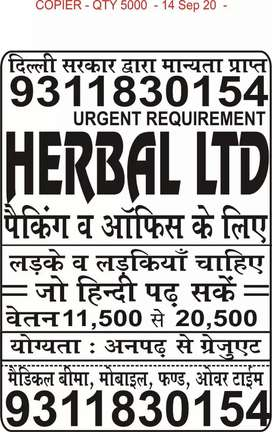 Jobs opening in herbal ltd