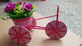 Fully Handmade Ribbon cycle with a flower bucket on back