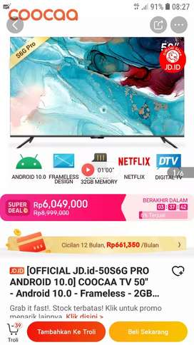 ANDROID 10 SMART TV COOCAA 50 INCH -4K-UHD-NETFLIX &YOUTUBE-2/32GB-BTH