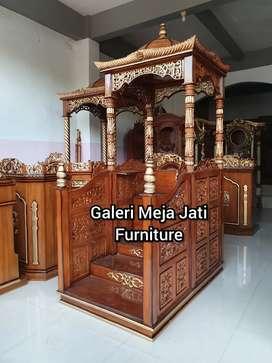 Mimbar masjid nois bahan kayu jati D527 wood