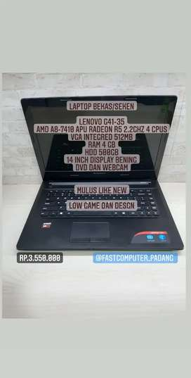 Laptop lenovo G41-31 Amd A8 Ram 4GB Mulus Design dan game