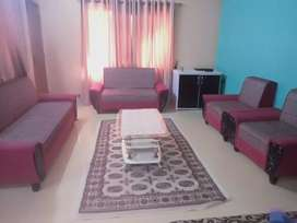 Sofa set complete table and curtain