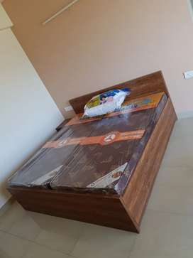 Double King size bed with two side tables with mattress