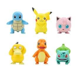 Action Figure POKEMON set isi 6 Pikachu charmander team miniatur toy
