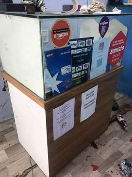 Counter cash shop cafe 5*3 feet wooden glass finish