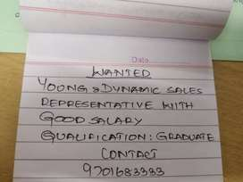 Young &dynamic sale representative between 18-30 years