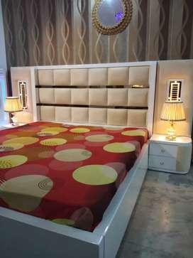 0% emi Bajaj finance king size double bed with side table
