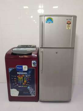 Samsung d/d refrigerator and maroon fully automatic washing machine
