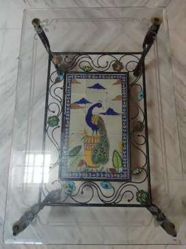 Antique Iron Center Table with Tiles.