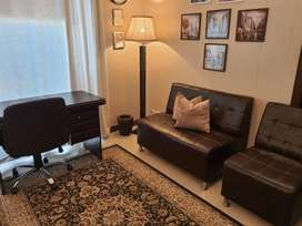 Brown Leather Sofa Office Set