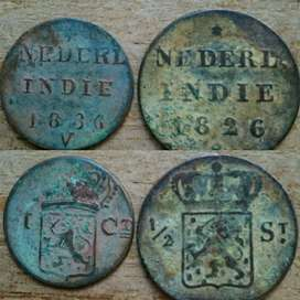 Sepasang Coin Nederl Indie 1800an