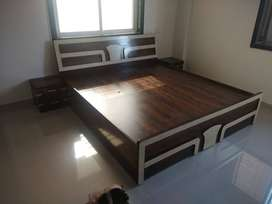 Brand new double bed with storage in brown color at factory price 6*5