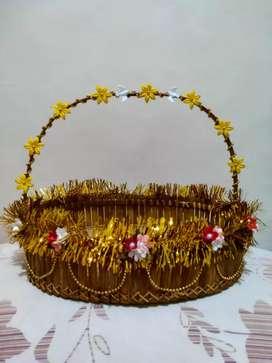 Keranjang Seserahan Bambu khusus untuk Pernikahan nuansa emas & perak