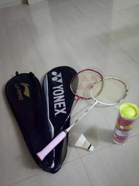 Newly purchased shuttle bat with racket and 2 cock