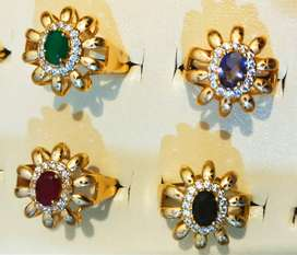Pack of 4 Color Single Stone 1 Karat Gold plated Ring for Girls/Women
