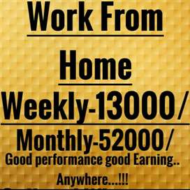 Work from home part time job available here weekly salary 13000rs