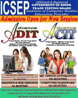 Admission Open in I.T Diploma, Certificate, short coursed
