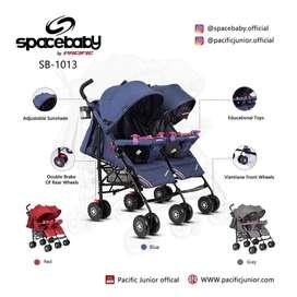 Baby Stroller Anak Kembar SpaceBaby SB-1013