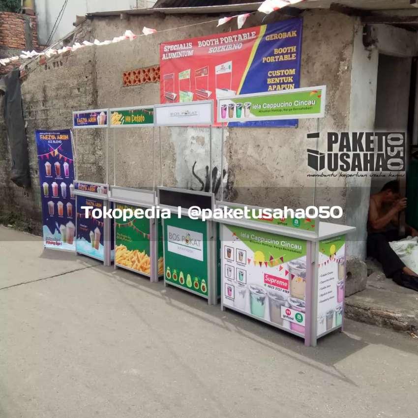 Booth portable gerobak jualan jajanan makanan minuman 0