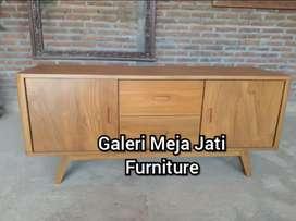 Meja tv minimalis bahan kayu jati D275 natural warna