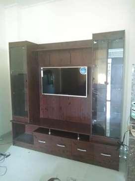 minimalis rak tv warna coklat