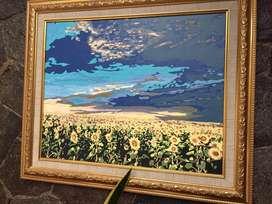 Lukisan bunga matahari beautiful