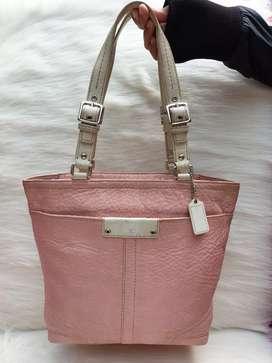 Tas import eks COACH Pink mix putih tote klit asli tbl lentur shoulder