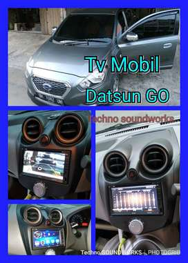 Paket Tv Mobil Datsun GO + Frame Tape double din 7 in USB Bluetooth