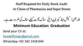 Experienced staff is required for stock taking on daily basis