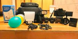Canon 600d with box with flash gun and 2 lenses