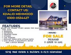 12 Marla Huse for sale in G-15/3 Islamabad