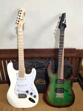 gitar ibanez green new semi up down