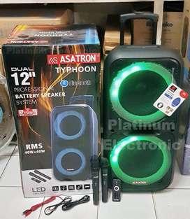 """Speaker Aktif 12"""" Double Bass ASATRON Typhoon Portable 2 Mic Wireless"""