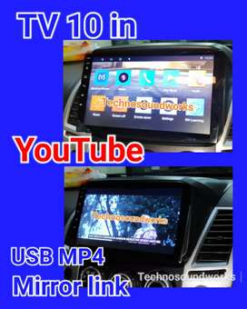 Tv 10 inch in dhd YouTube Android usb mp4 headunit doubledin for sound