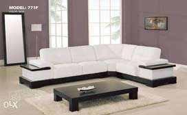 brand new white look sofa set with wooden center table