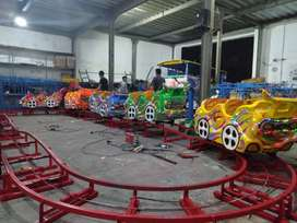 wahana mainan anak kereta rel bawah lantai mini coaster odong merah 11
